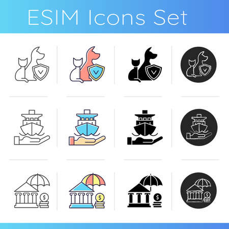 Insurance and protection icons set. Pet-care policy. Payment for pensioners and low-income. Protection from marine navigation risks. Linear, black and RGB color styles. Isolated vector illustrations