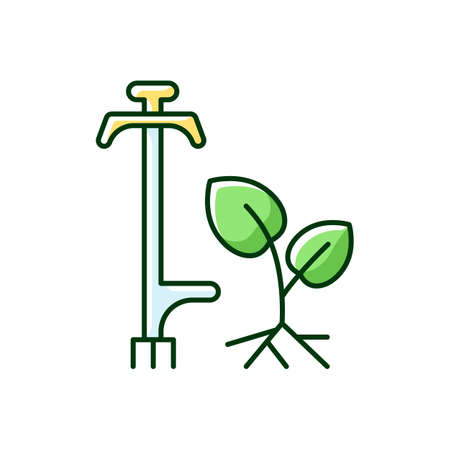 Weed puller RGB color icon. Garden and lawn care. Pulling tool. Removing unwanted deep-rooted weeds. Getting dandelions, thistles, nettles rid. Hand-held weeder. Isolated vector illustration