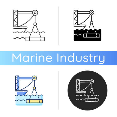 Underwater construction icon. Marine construction industry. Placing concrete under water. Installing watertight floor, walls. Linear black and RGB color styles. Isolated vector illustrations