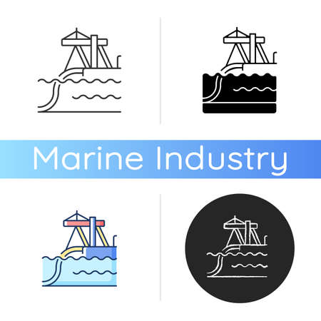 Underwater pipeline installation icon. Laying pipe on seabed. Submarine pipeline construction. Buried infrastructure. Linear black and RGB color styles. Isolated vector illustrations