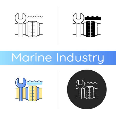 Underwater pipeline repair icon. Subsea pipeline integrity repairing and reinforcing. Offshore and subsea environments. Linear black and RGB color styles. Isolated vector illustrations