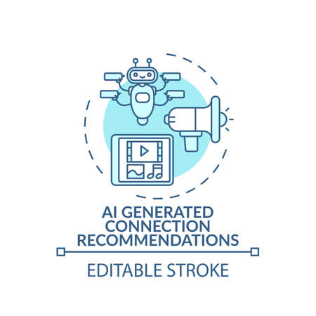 AI generated connection concept recommendations icon. VE for networking idea thin line illustration. Implementing artificial intelligence. Vector isolated outline RGB color drawing. Editable stroke