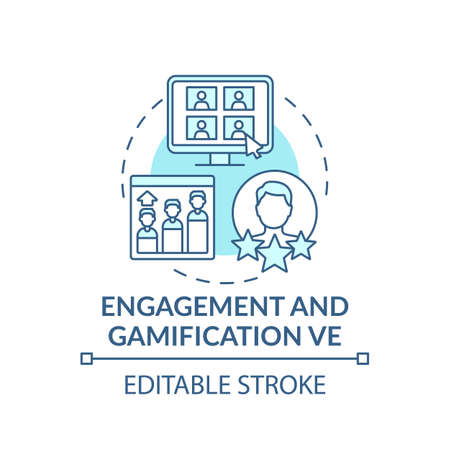 Engagement and gamification VE concept icon. Virtual events type idea thin line illustration. Engaging games creation. Working in teams. Vector isolated outline RGB color drawing. Editable stroke Vetores