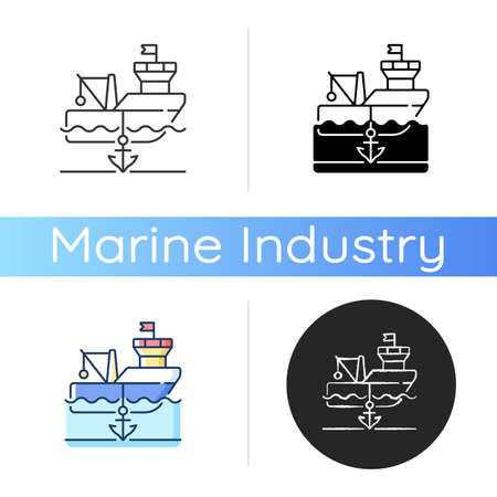Anchored ship icon. Anchorage. Anchoring operation. Holding vessel in same place. Protecting ship during weather conditions. Linear black and RGB color styles. Isolated vector illustrations