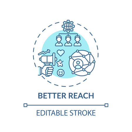 Better reach concept icon. Hybrid event benefit idea thin line illustration. Integrated engagement. In-person, remote attendance. Vector isolated outline RGB color drawing. Editable stroke Vector Illustration