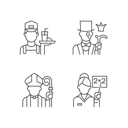 Social class type linear icons set. Working poor. Aristocratic elite. Society classification. Customizable thin line contour symbols. Isolated vector outline illustrations. Editable stroke Vecteurs