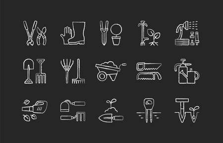 Gardening tools chalk white icons set on black background. Horticultural implement. Bypass loppers. Gloves, boots. Hosepipe. Clippers, secateurs. Garden fork. Isolated vector chalkboard illustrations