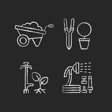 Garden accessories chalk white icons set on black background. Wheelbarrow. Pruning shears. Weed puller. Hosepipe with sprayer nozzle. Hand-propelled vehicle. Isolated vector chalkboard illustrations