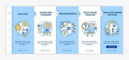 Problem solving tactics onboarding vector template. Responsive mobile website with icons. Web page walkthrough 5 step screens. Creative thinking color concept with linear illustrations