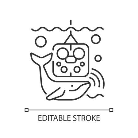 Acoustic recording package linear icon. Acoustic surrounding data provided from ocean enviroment. Thin line customizable illustration. Contour symbol. Vector isolated outline drawing. Editable stroke