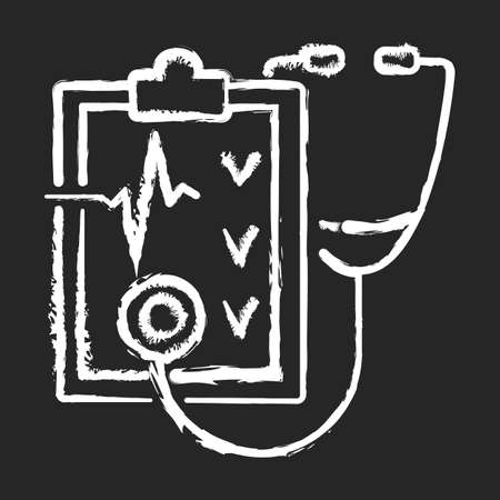 Regular health checkups chalk white icon on black background. Hospital check. Clinical examination. Therapist diagnosis report. Visit general practitioner. Isolated vector chalkboard illustration