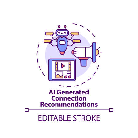 AI generated connection concept recommendations icon. VE for networking idea thin line illustration. Delivering recommended content. Vector isolated outline RGB color drawing. Editable stroke Vektorové ilustrace