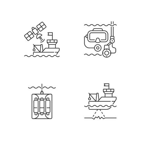 Marine exploration linear icons set. Taking water sampler from ocean with use of special equipment. Customizable thin line contour symbols. Isolated vector outline illustrations. Editable stroke