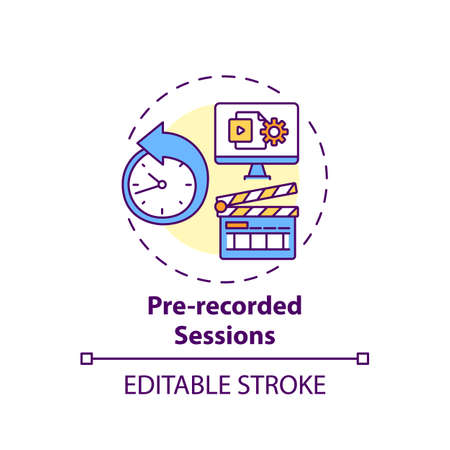 Pre-recorded sessions concept icon. Virtual event content idea thin line illustration. Simulated live format. Pressure absence on speaker. Vector isolated outline RGB color drawing. Editable stroke