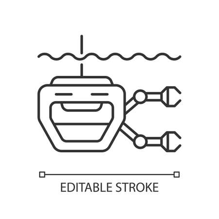 ROV linear icon. Remotely operated underwater vehicle is tethered underwater mobile device. Thin line customizable illustration. Contour symbol. Vector isolated outline drawing. Editable stroke
