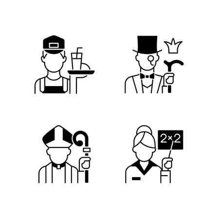 Social class type black linear icons set. Working poor. Aristocratic elite. Clergy, pink collar. Society classification. Glyph contour symbols. Vector isolated outline illustrations Vecteurs