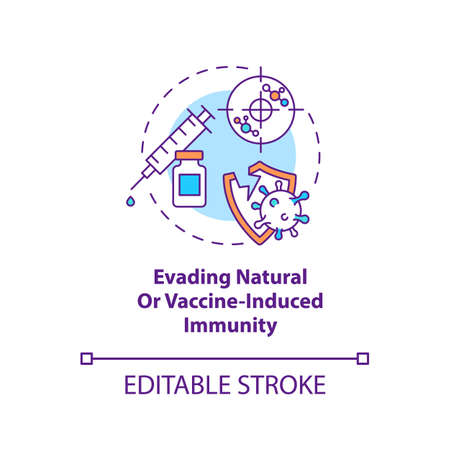 Evading natural or vaccine induced immunity concept icon. Fighting world pandemic problem. virus idea thin line illustration. Vector isolated outline RGB color drawing. Editable stroke Vector Illustration