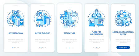 Workspace tendency onboarding mobile app page screen with concepts. Diverse styles, co-creation walkthrough 5 steps graphic instructions. UI, UX, GUI vector template with linear color illustrations