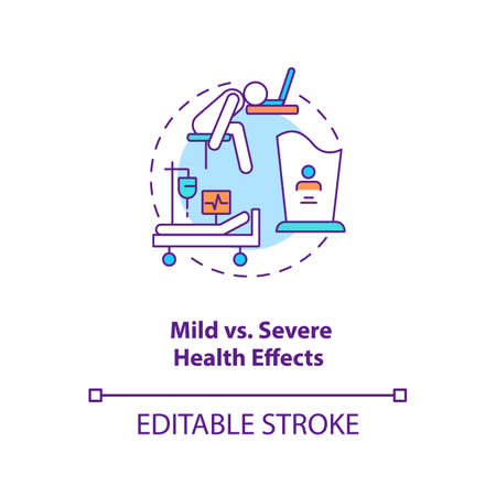 Mild vs severe health effects concept icon. Different result after illness treatment. idea thin line illustration. Vector isolated outline RGB color drawing. Editable stroke