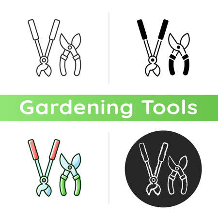 Garden secateurs icon. Bypass loppers. Hedge trimmers. Pruning trees, shrubs and shears. Care for living plants and saplings. Linear black and RGB color styles. Isolated vector illustrations