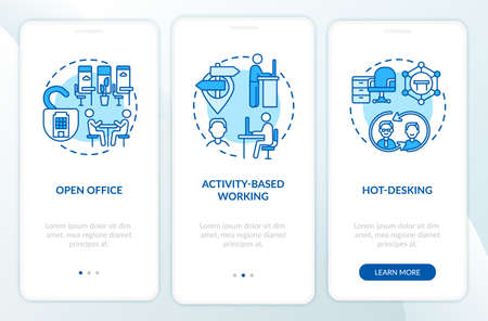 Future office environments onboarding mobile app page screen with concepts. Openness, hot desking walkthrough 3 steps graphic instructions. UI, UX, GUI vector template with linear color illustrations