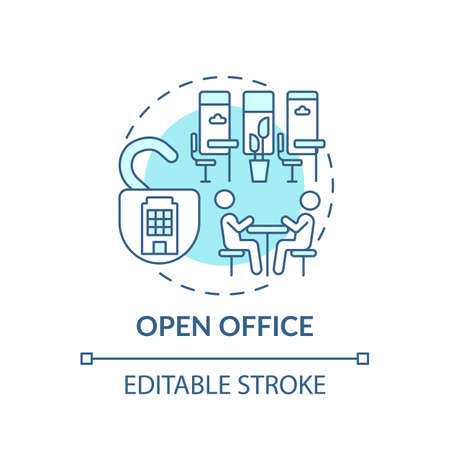 Open-plan office concept icon. Office environment idea thin line illustration. Barriers elimination. Workspace openness. Collaboration. Vector isolated outline RGB color drawing. Editable stroke
