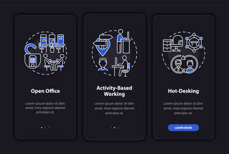Future worksite environs onboarding mobile app page screen with concepts. Openness, hot desk walkthrough 3 steps graphic instructions. UI, UX, GUI vector template with linear night mode illustrations