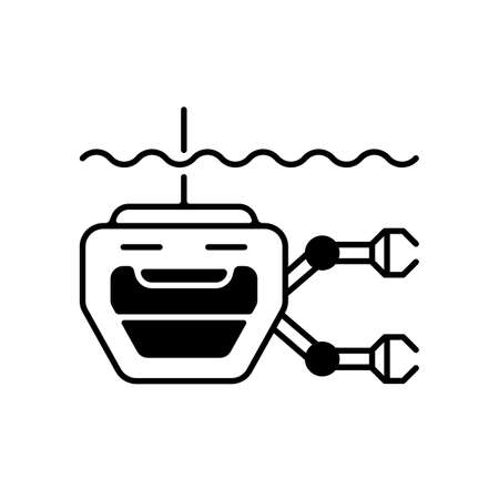 ROV black linear icon. Remotely operated underwater vehicle is tethered underwater highly maneuverable mobile device. Maritime industry. Outline symbol on white space. Vector isolated illustration Vektorové ilustrace