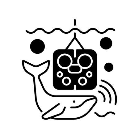 Acoustic recording package black linear icon. Acoustic surrounding data provided from ocean bottom enviroment and creatures that live there. Outline symbol on white space. Vector isolated illustration