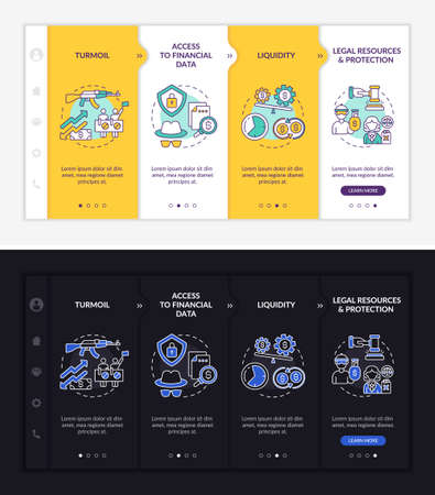 Worldwide asset issues onboarding vector template. Responsive mobile website with icons. Web page walkthrough 4 step screens. Liquidity, protection night and day mode concept with linear illustrations Ilustración de vector