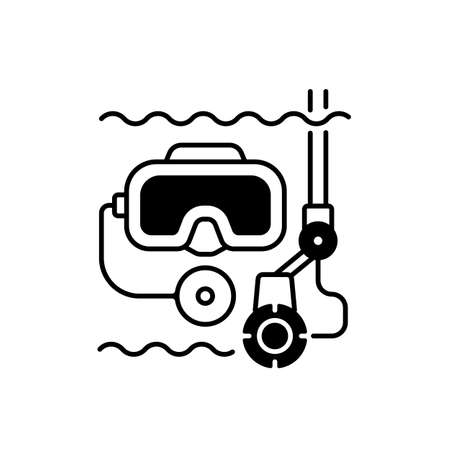 Underwater inspection black linear icon. Easily inspect areas that are too small for divers to enter. Helps to avoid unnecessary down time. Outline symbol on white space. Vector isolated illustration