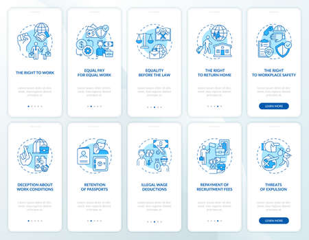 Migrant workers rights blue onboarding mobile app page screen with concepts set. Immigration walkthrough 5 steps graphic instructions. UI, UX, GUI vector template with linear color illustrations