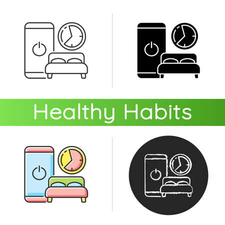 Sleep hygiene icon. Healthy nighttime routine. Bedtime activity. Schedule to prevent insomnia. Digital detox. Life improvement. Linear black and RGB color styles. Isolated vector illustrations