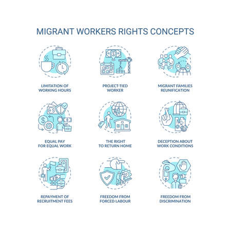Migrant worker right blue concept icons set. Limitation of working hours. Project tied. Immigrant labor idea thin line RGB color illustrations. Vector isolated outline drawings. Editable stroke Ilustración de vector