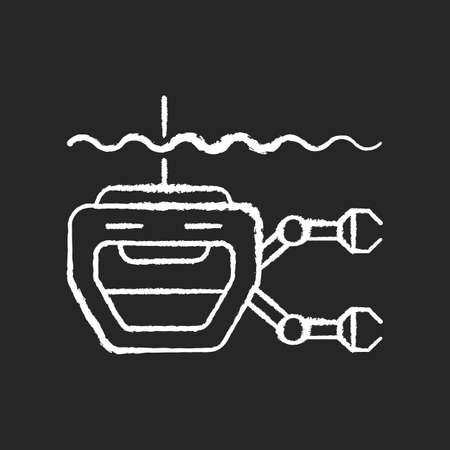 ROV chalk white icon on black background. Remotely operated underwater vehicle is tethered underwater highly maneuverable mobile device. Isolated vector chalkboard illustration
