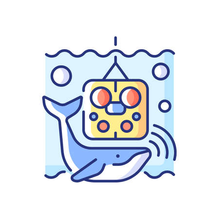 Acoustic recording package RGB color icon. Acoustic surrounding data provided from ocean bottom enviroment and creatures that live there. Isolated vector illustration