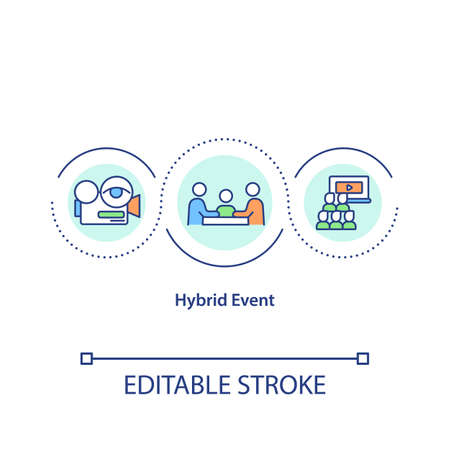 Hybrid event concept icon. Live and virtual components mix idea thin line illustration. Remote and in-person attendees connection. Vector isolated outline RGB color drawing. Editable stroke