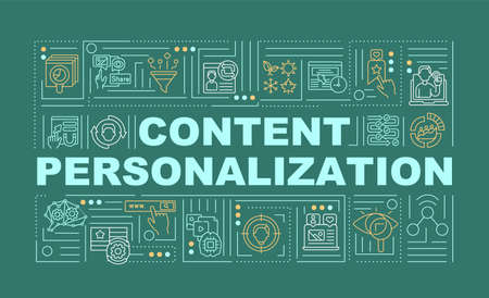 Content personalization word concepts banner. Creating special product. Infographics with linear icons on green background. Isolated typography. Vector outline RGB color illustration Vektorové ilustrace