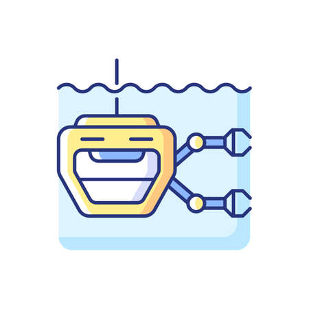ROV RGB color icon. Remotely operated underwater vehicle is tethered underwater highly maneuverable mobile device used for ocean discovery. Isolated vector illustration