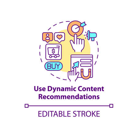 Use dynamic recommendations concept icon. Social media promotion. Digital marketing. Smart predictive content idea thin line illustration. Vector isolated outline RGB color drawing. Editable stroke