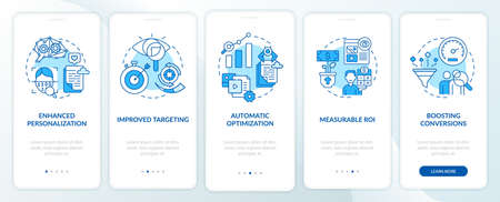 Smart content benefits blue onboarding mobile app page screen with concepts. Online business walkthrough 5 steps graphic instructions. UI, UX, GUI vector template with linear color illustrations Vektorové ilustrace