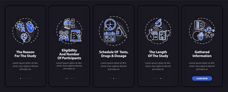 Research protocol onboarding mobile app page screen with concepts. Reasons, test scheduling walkthrough 5 steps graphic instructions. UI, UX, GUI vector template with linear night mode illustrations