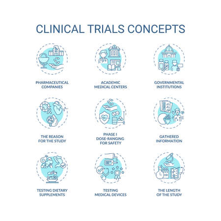 Clinical trials concept icons set. Medical studies idea thin line RGB color illustrations. Testing dietary supplements. Academic medical centers. Vector isolated outline drawings. Editable stroke