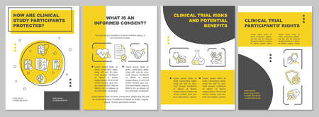 Clinical study volunteer safety brochure template. Informed consent. Flyer, booklet, leaflet print, cover design with linear icons. Vector layouts for presentation, annual reports, advertisement pages Vettoriali