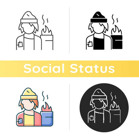 Lower class icon. Homeless man. Poverty, beggar living on street. Person with no home. Life crisis. Society problem. Linear black and RGB color styles. Isolated vector illustrations