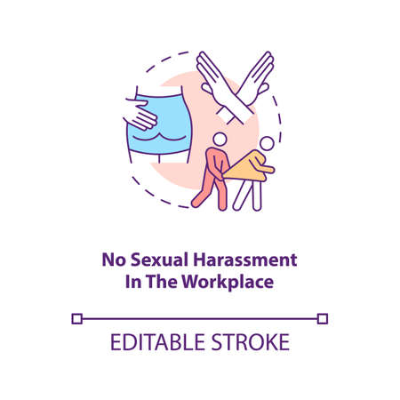 No harassment in workplace concept icon. Stop abuse. Prevent assault on woman. Migrant worker rights idea thin line illustration. Vector isolated outline RGB color drawing. Editable stroke 向量圖像