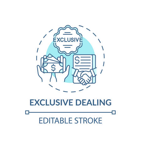 Exclusive dealing concept icon. Anti-competitive practices idea thin line illustration. Market power imbalance. Giving particular discount. Vector isolated outline RGB color drawing. Editable stroke