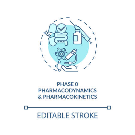 Pharmacodynamics and pharmacokinetics concept icon. Clinical trials phase idea thin line illustration. Drug and treatment study. Vector isolated outline RGB color drawing. Editable stroke