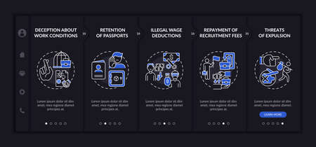Migrant workers rights abuse onboarding vector template. Responsive mobile website with icons. Web page walkthrough 5 step screens. Harassment dark mode concept with linear illustrations 向量圖像