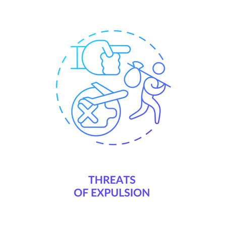 Threats of expulsion blue gradient concept icon. Illegal firing, foreign employee abuse. Migrant worker rights idea thin line illustration. Vector isolated outline RGB color drawing Vetores